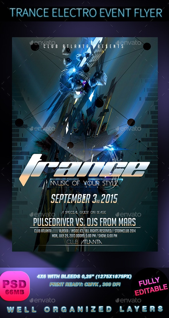 Trance Electro Event Flyer - Events Flyers