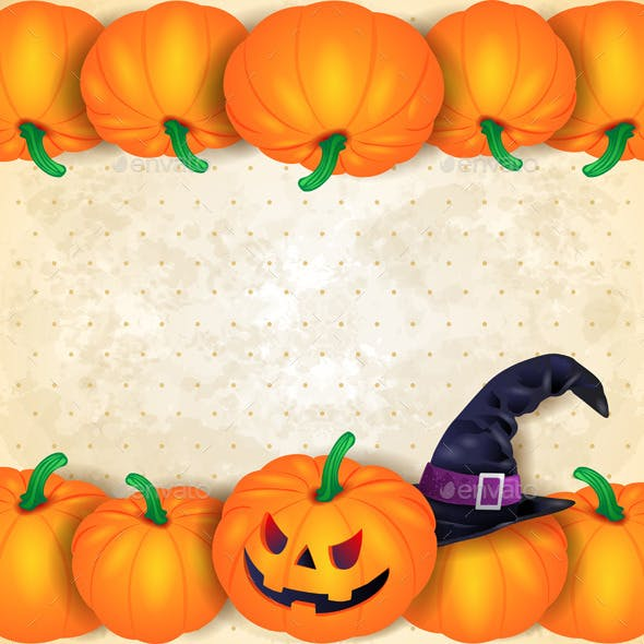 Halloween Background with Border of Pumpkins