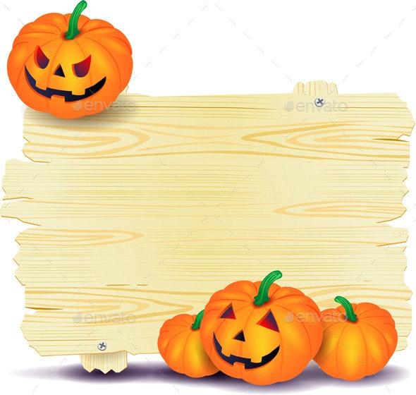Halloween Signboard with Pumpkin - Halloween Seasons/Holidays