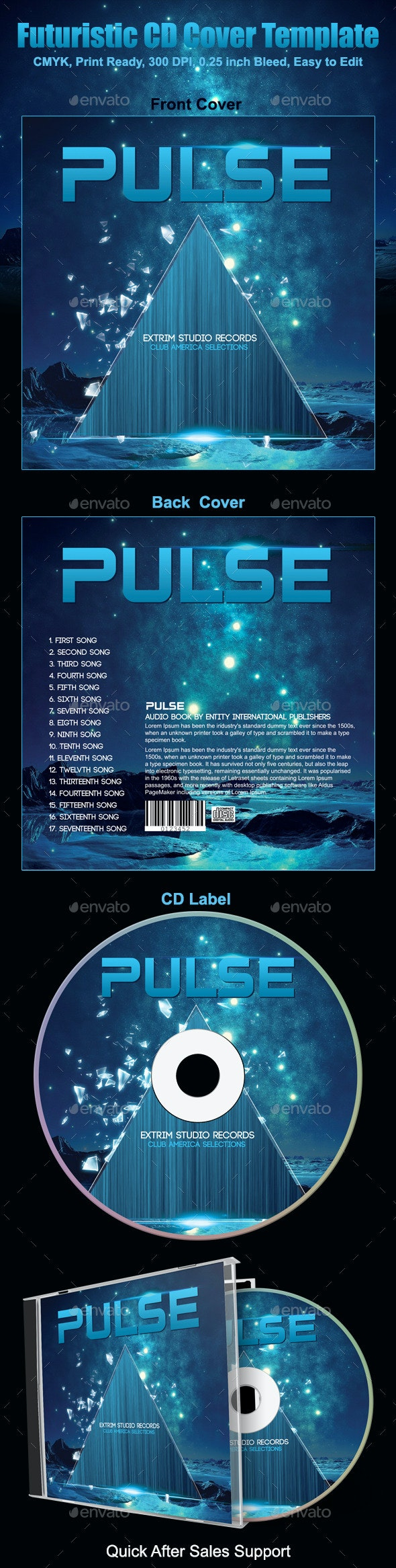 Futuristic CD Cover Template - CD & DVD Artwork Print Templates