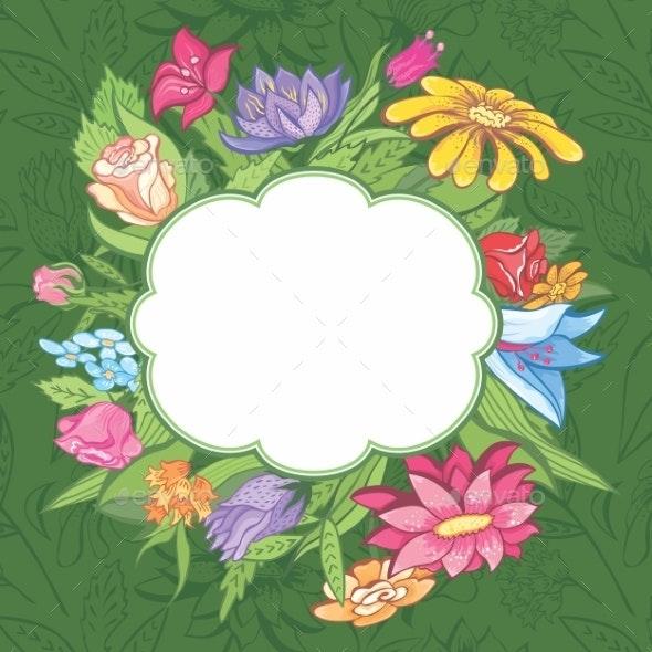 Vector bright flower frame - Flowers & Plants Nature