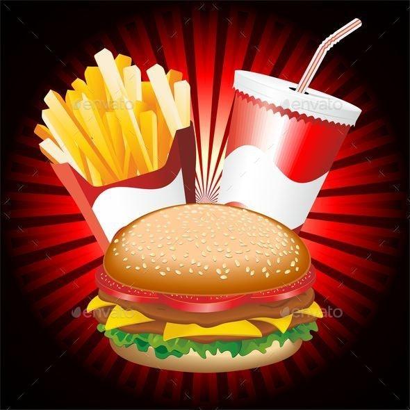 Fast Food Hamburger Fries and Drink Menu - Food Objects