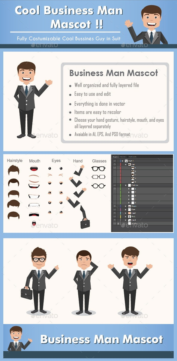 Business Man Mascot - Characters Vectors