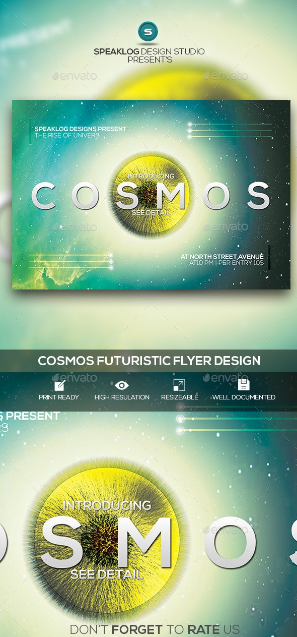 Cosmos Futuristic Flyer Design - Clubs & Parties Events