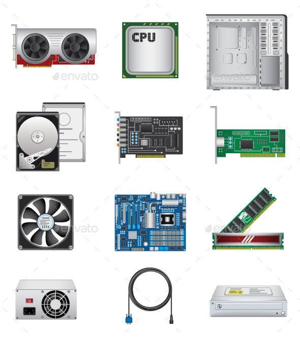 Computer Parts Icon Set - Computers Technology