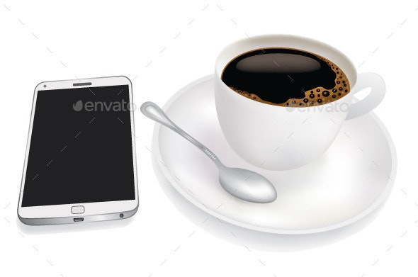 Cup of Coffee and Mobile Phone - Concepts Business
