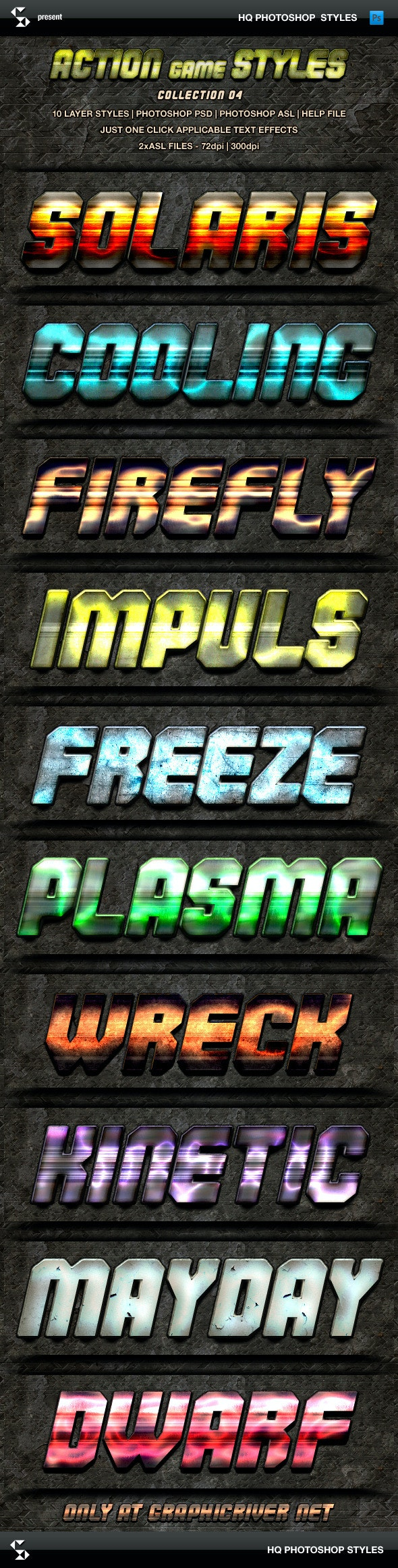 Action Game Styles - Collection 4 - Text Effects Styles