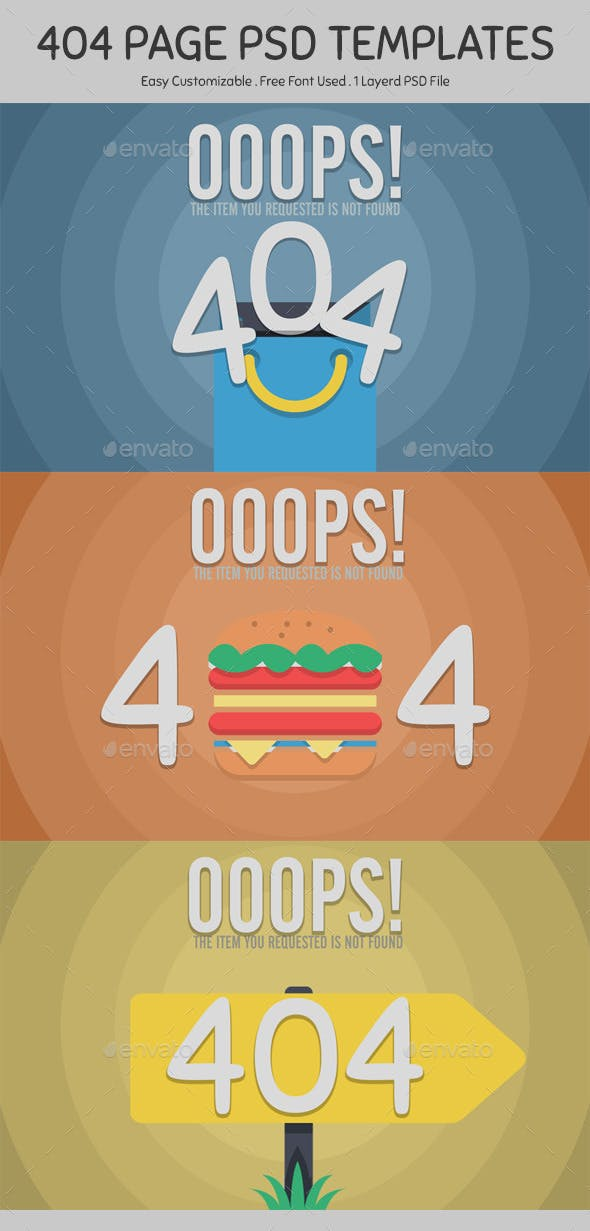 404 Page PSD Templates