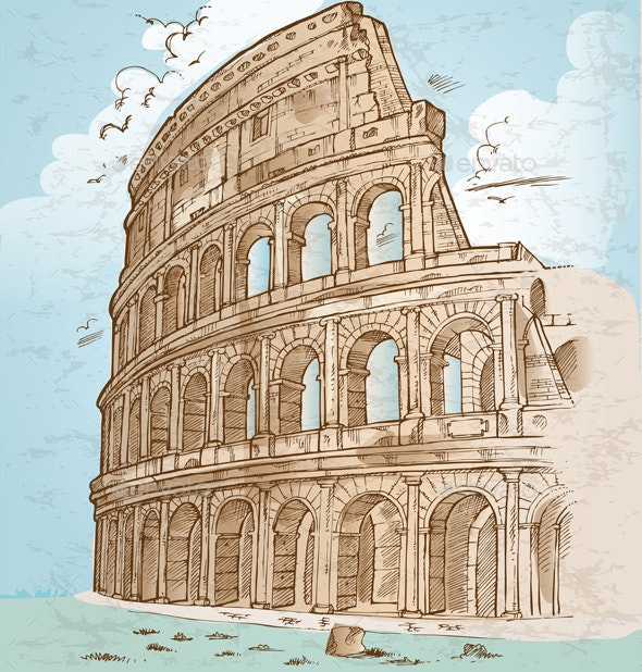 Colosseum Hand Draw - Buildings Objects