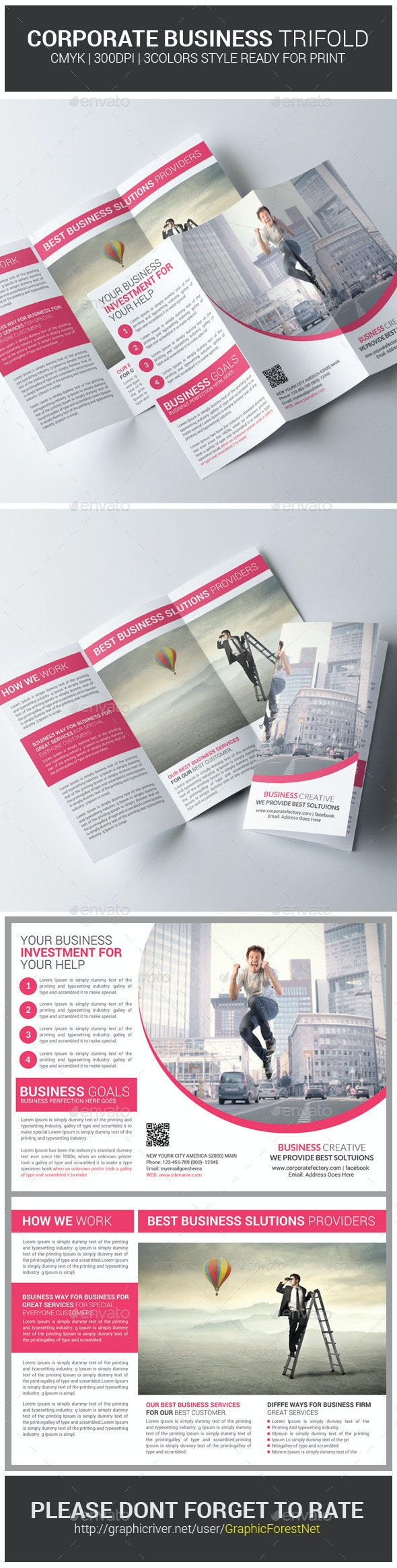 Corporate Business Trifold  Brochure Psd Templates - Corporate Brochures