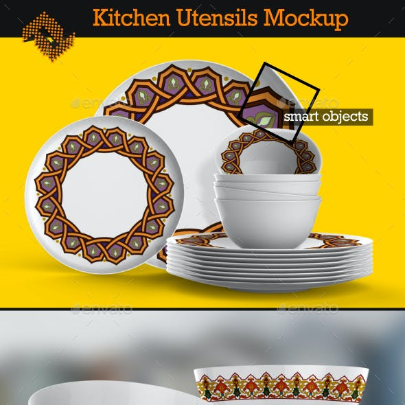 Kitchen Utensils / Dishes Mockup