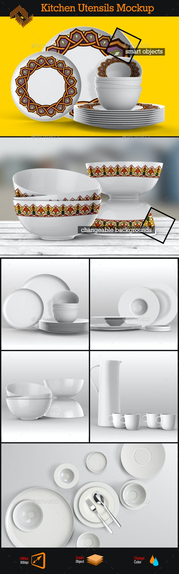 Kitchen Utensils / Dishes Mockup - Product Mock-Ups Graphics
