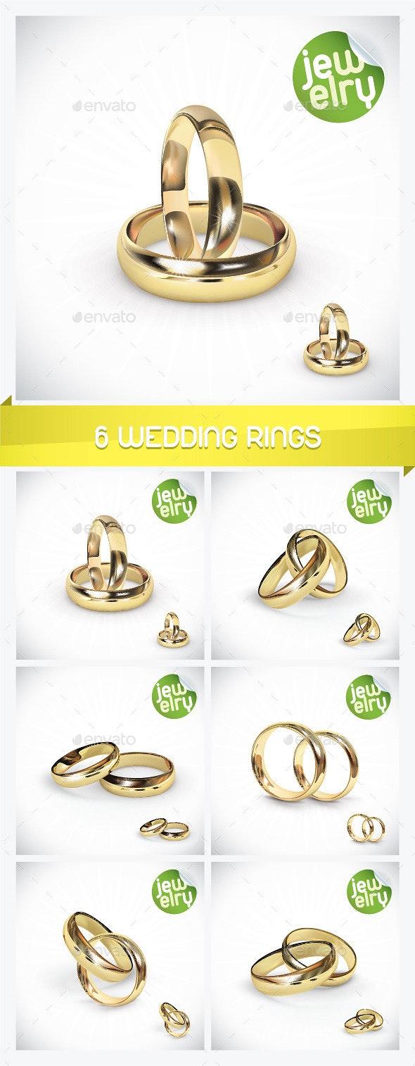 6 Gold Wedding Rings - Weddings Seasons/Holidays