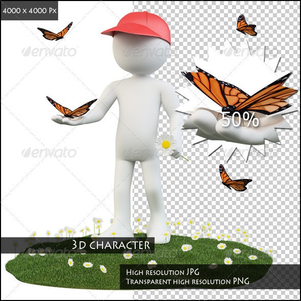 Seasons. Spring. Man with a Flower and a Butterfly - Characters 3D Renders