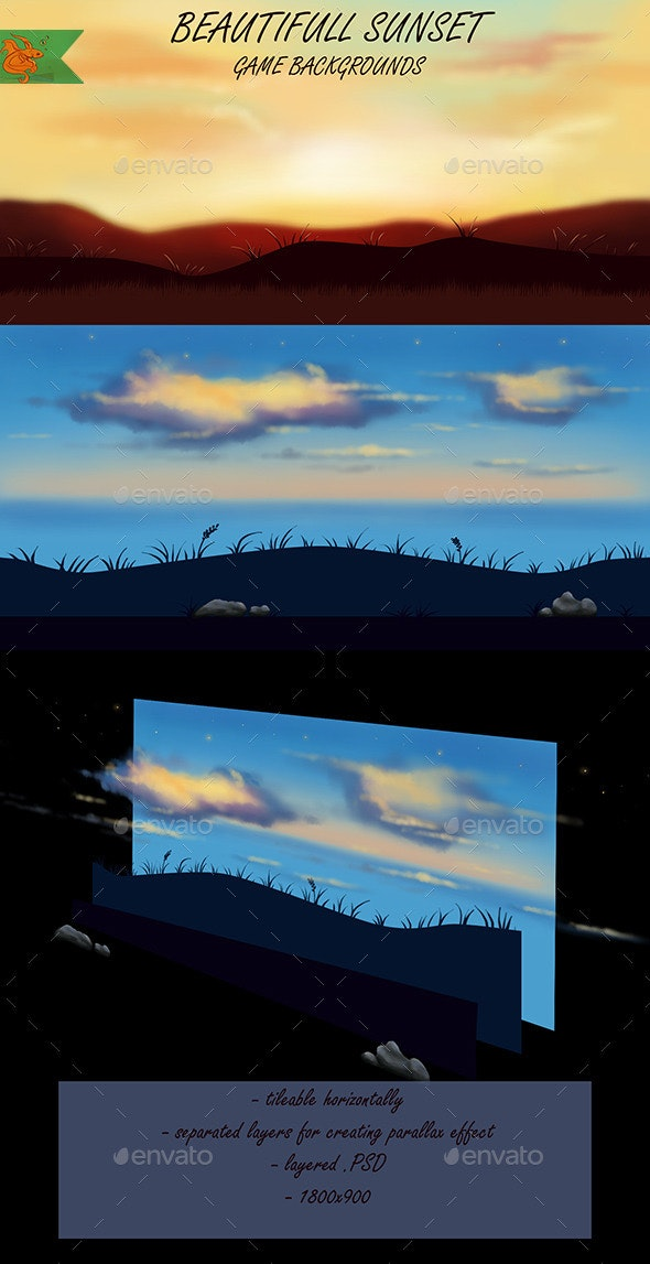 Sunset Game Backgrounds - Backgrounds Game Assets