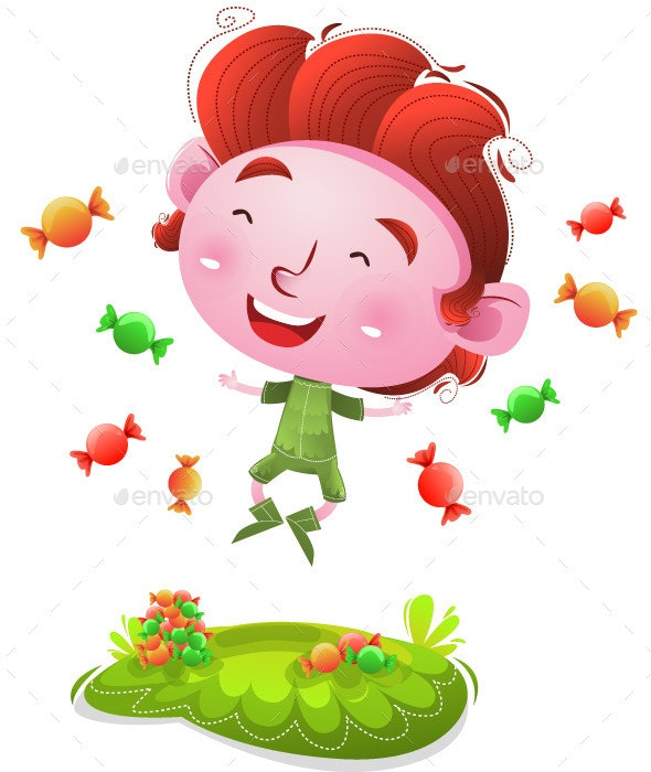 Happy kids with candies - People Characters
