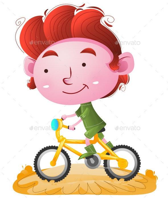 Kids riding Bike - People Characters
