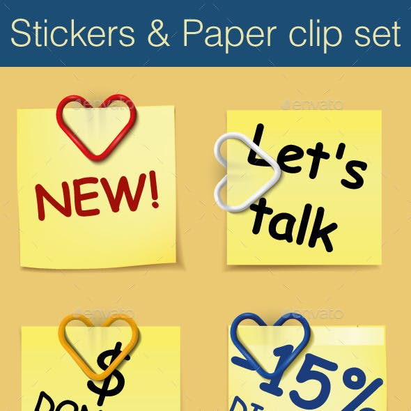 Stickers and Paper Clip Set