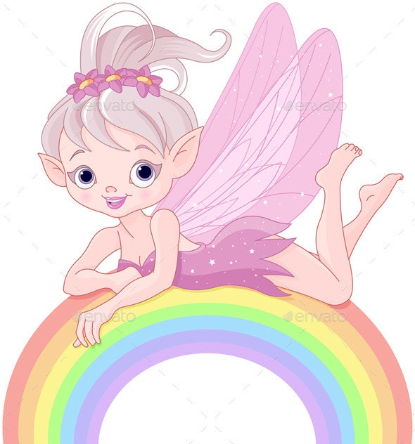 Pixie Fairy on Rainbow - People Characters