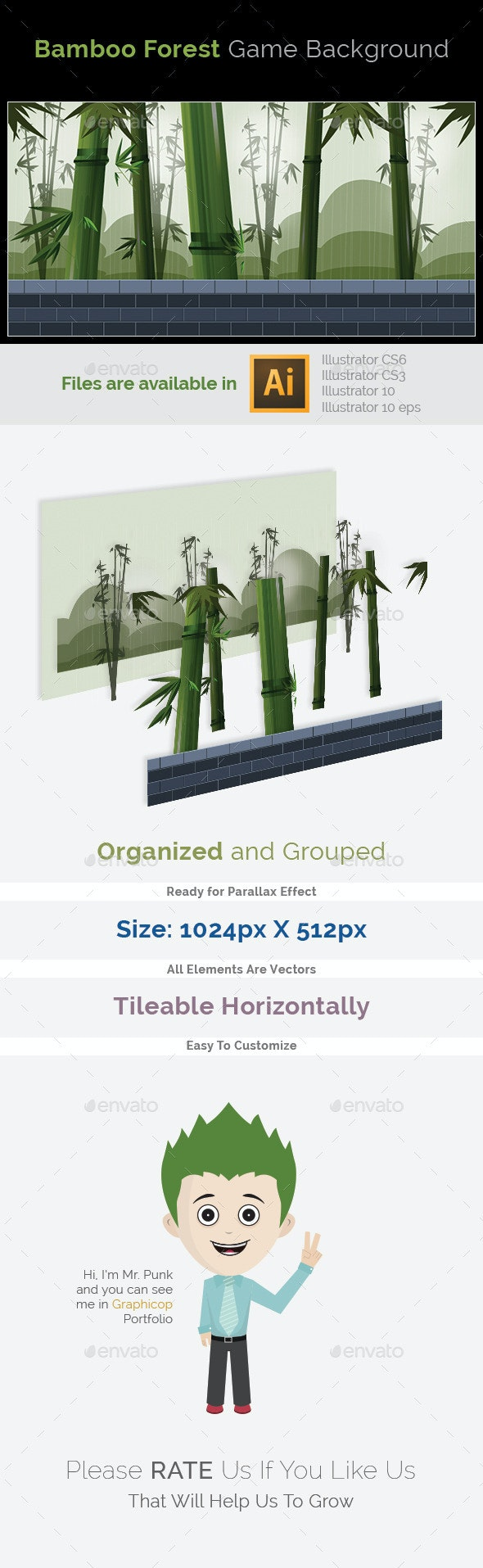 Game Background_Bamboo Forest - Backgrounds Game Assets