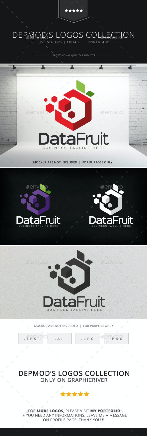 Data Fruit Logo - Food Logo Templates