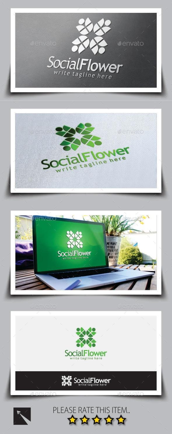 Social Flower Logo Template - Abstract Logo Templates