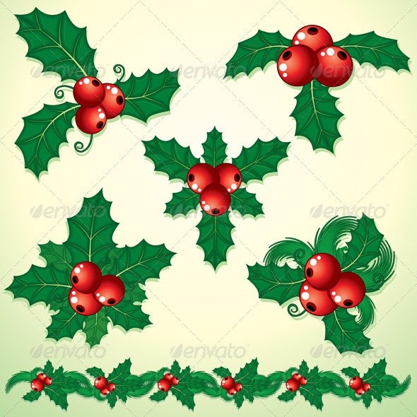 Christmas Holly Decoration - Characters Vectors