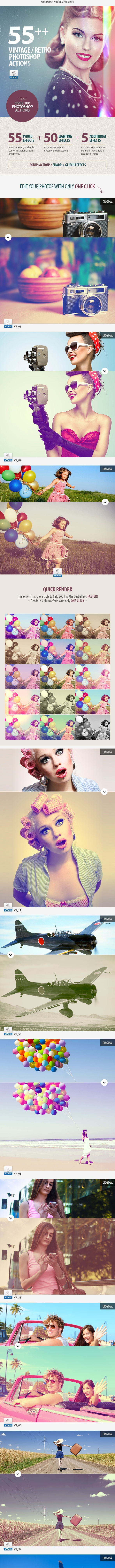 55+ Vintage / Retro Effects - Photoshop Actions - Photo Effects Actions