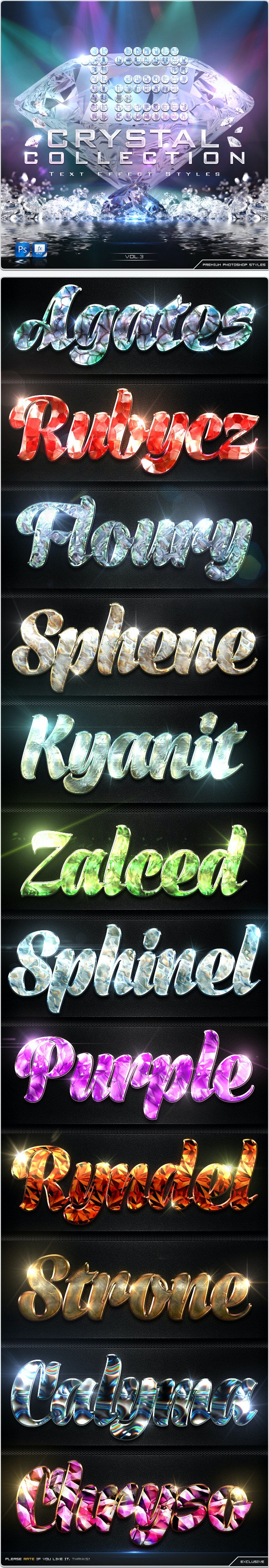 12 Crystal Collection Text Effect Styles Vol.3 - Text Effects Styles