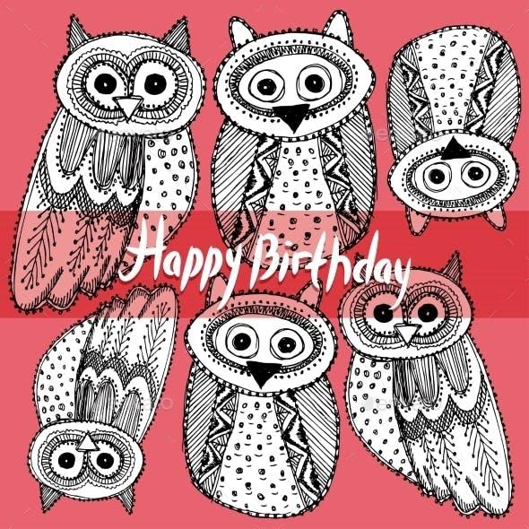 Happy birthday Decorative Hand Drawn Cute Owl Sketch