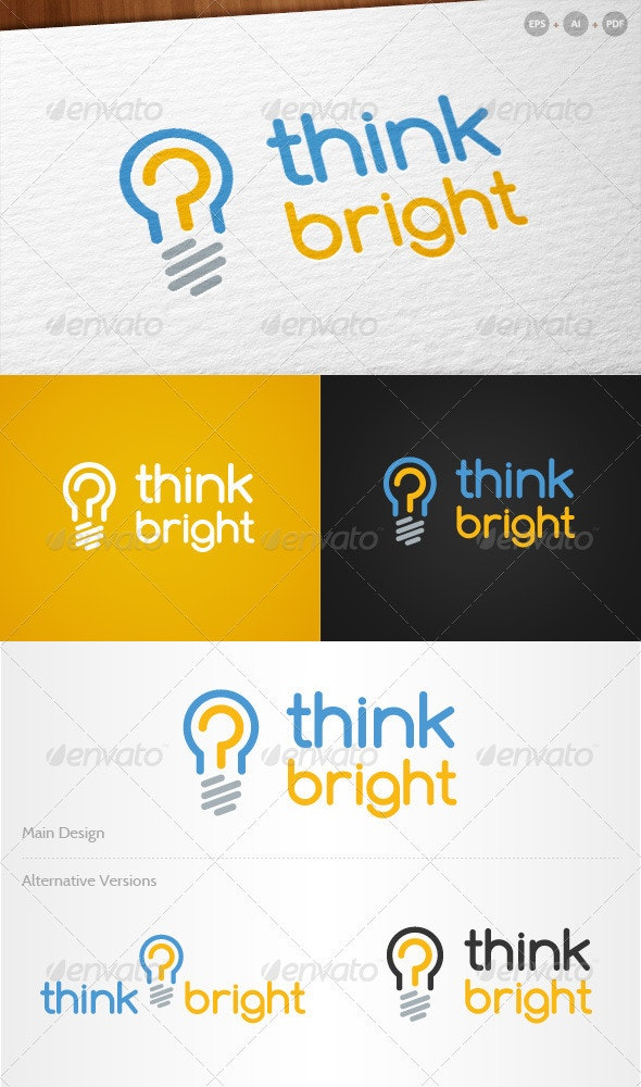 'Think Bright' - Innovative Logo - Objects Logo Templates