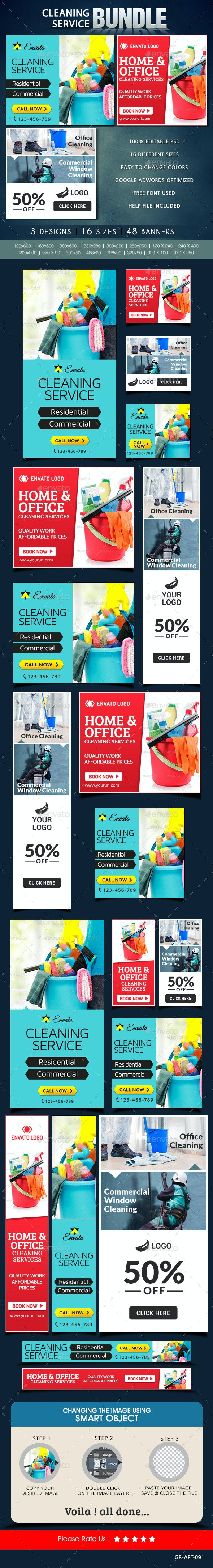 Cleaning Service Banner Bundle - 3 sets - Banners & Ads Web Elements