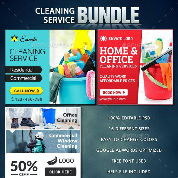 Cleaning Service Banner Bundle - 3 sets
