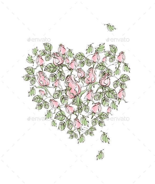 Vector Illustration Hand Drawing Gentle Pink Roses - Flowers & Plants Nature