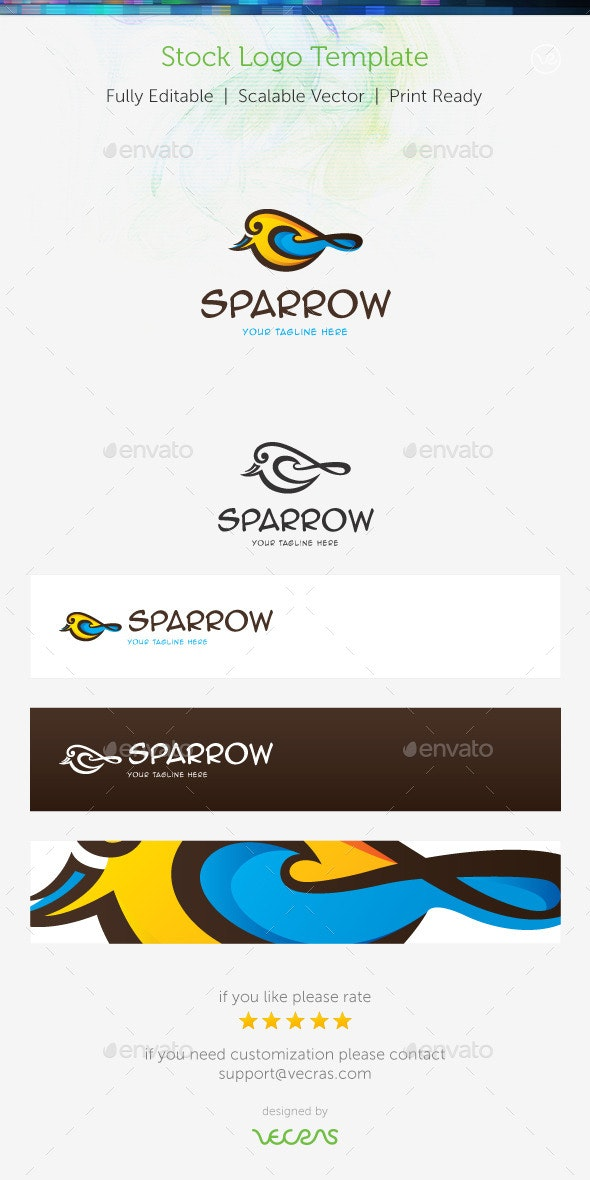 Sparrow Stock Logo Template  - Animals Logo Templates