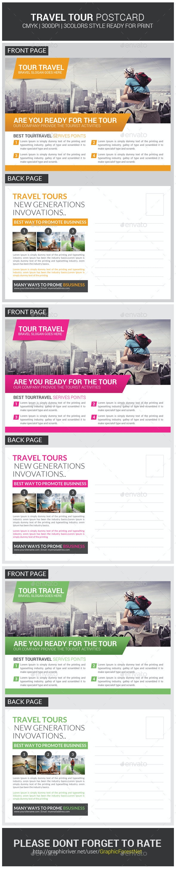 Tour Travel Business Postcard Psd Template - Cards & Invites Print Templates