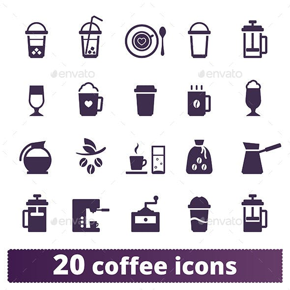 Coffee Icons: Vector Set.