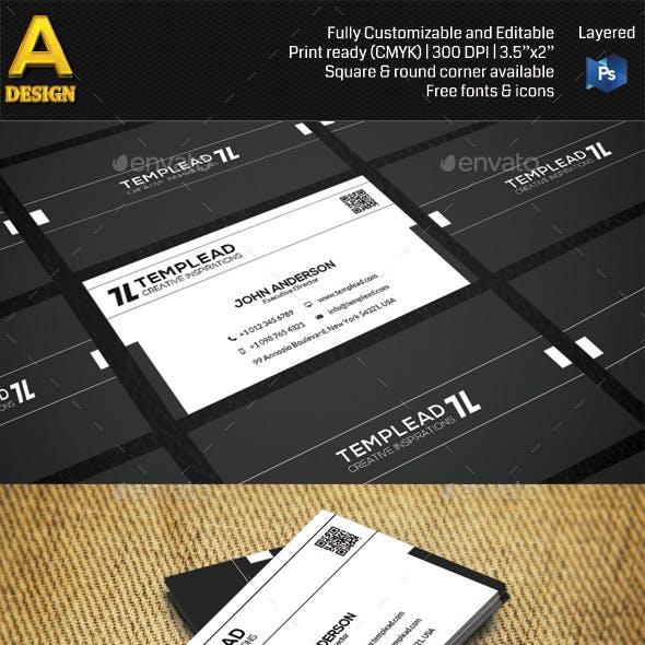 Black & White Modern Business Card HP0005