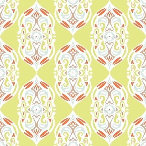 Damask Flower Vector Seamless Background - Patterns Decorative