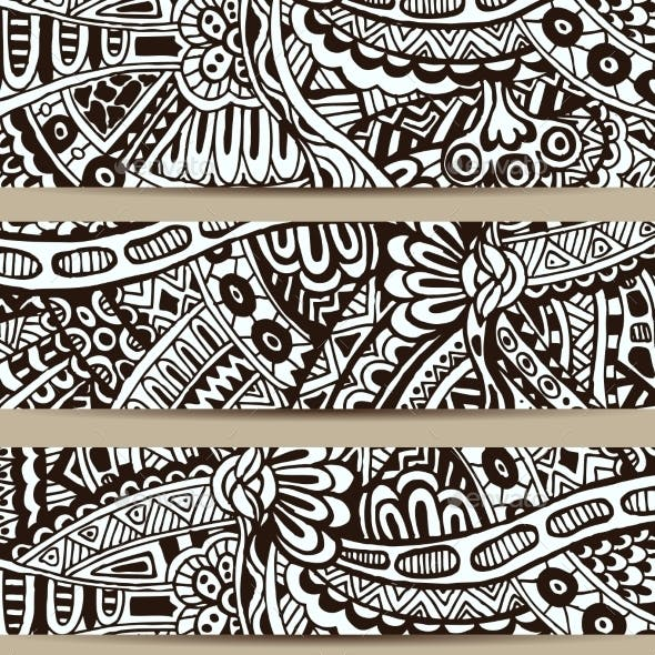 Abstract Vector Hand Drawn Vintage Ethnic Banner