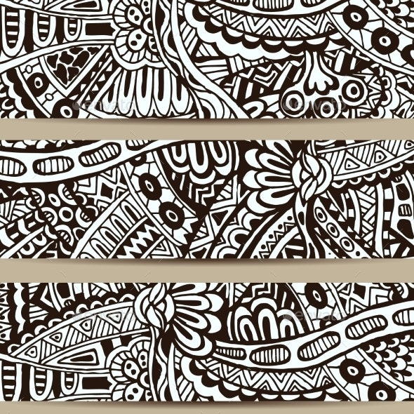 Abstract Vector Hand Drawn Vintage Ethnic Banner - Patterns Decorative