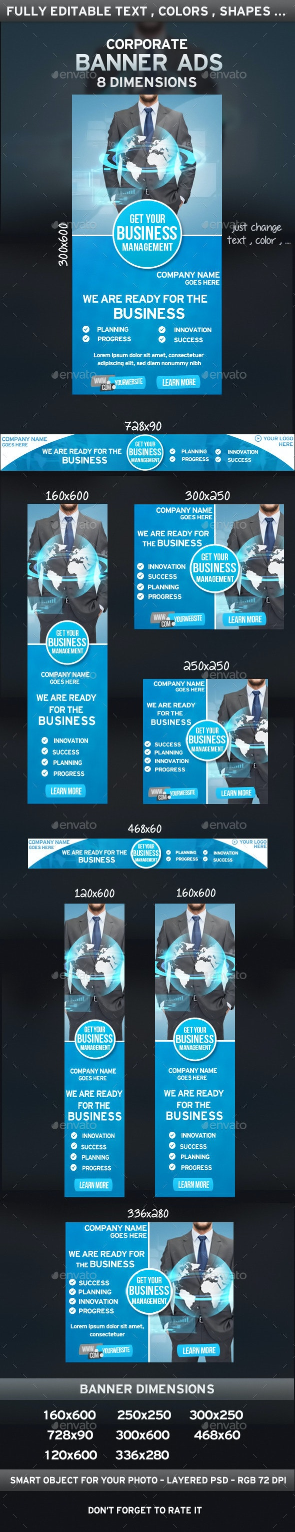 Clean Corporate Banner Ads - Banners & Ads Web Elements