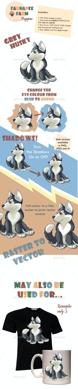 Grey Husky Pup Illustration