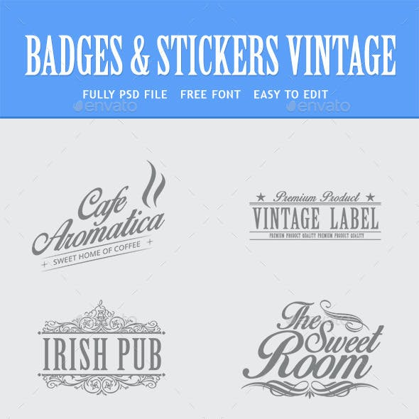 Bundle - Vintage Retro Logo Badges
