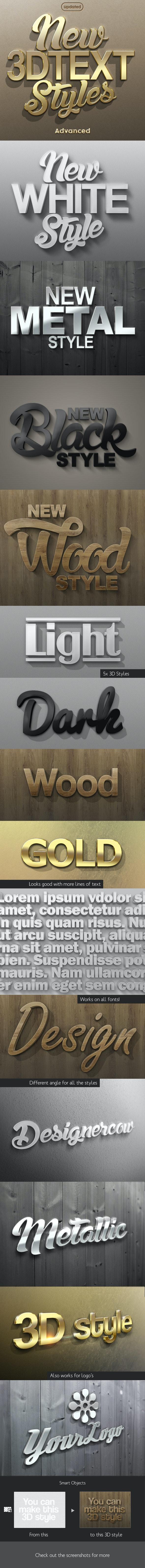 New 3D Text Styles Advanced - Styles Photoshop