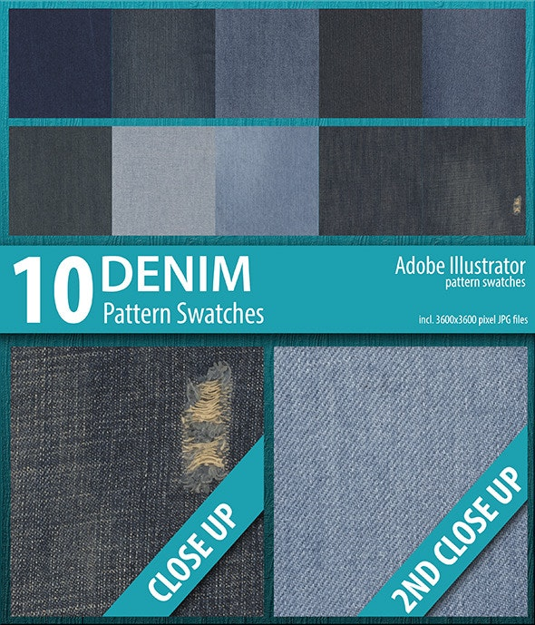 10 Denim Texture Pattern Swatches - Abstract Textures / Fills / Patterns