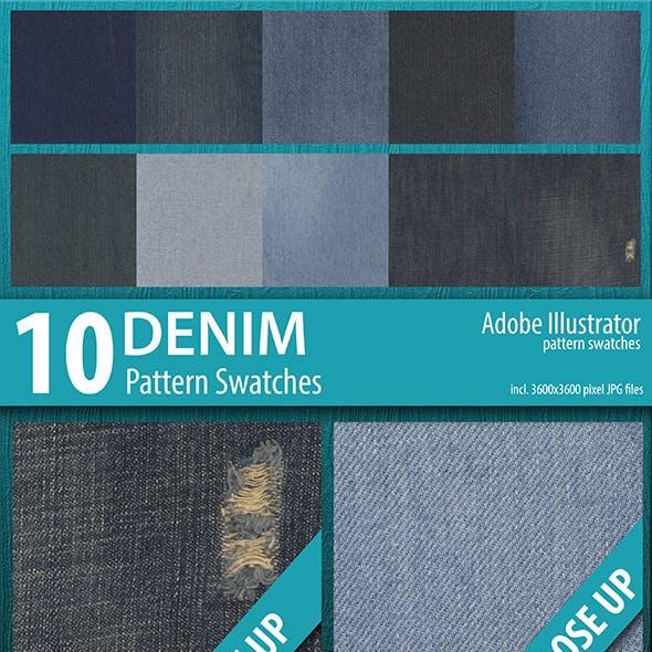 10 Denim Texture Pattern Swatches