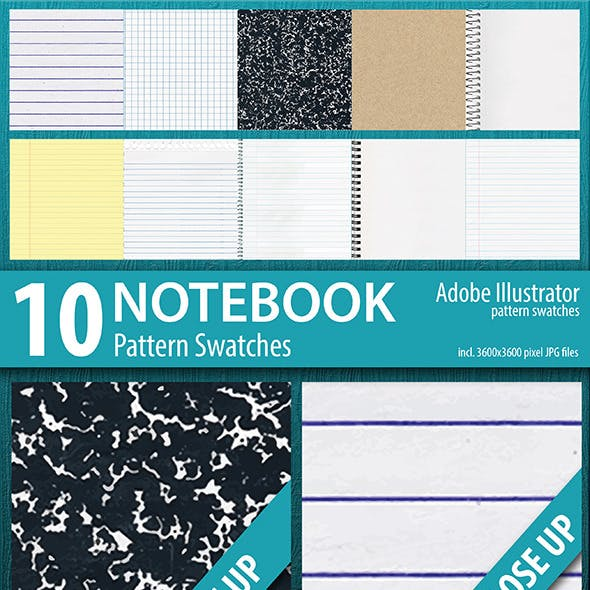 10 Notebook Texture Pattern Swatches