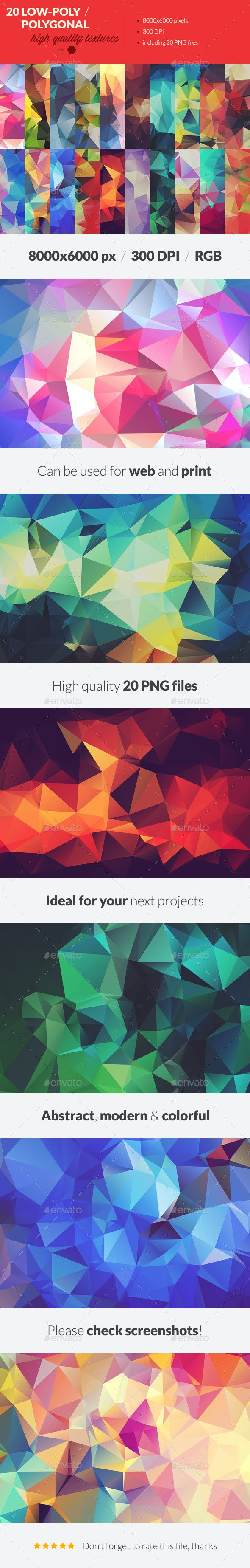 20 Low-Poly Polygonal Background Textures - Abstract Backgrounds