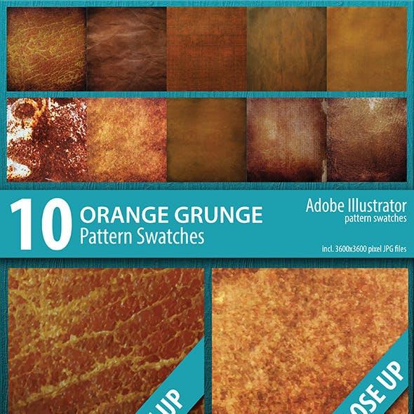 10 Orange Grunge Texture Pattern Swatches